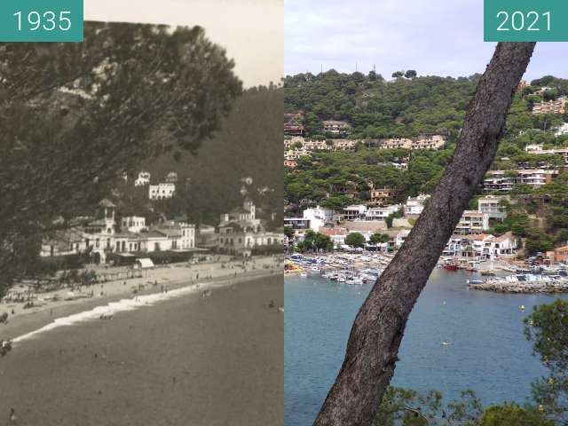 Before-and-after picture of Llafranc - Catalogne - Espagne between 1935 and 2021-Aug-06