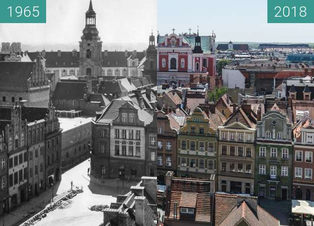 Before-and-after picture of Widok z wieży ratuszowej between 1965 and 2018