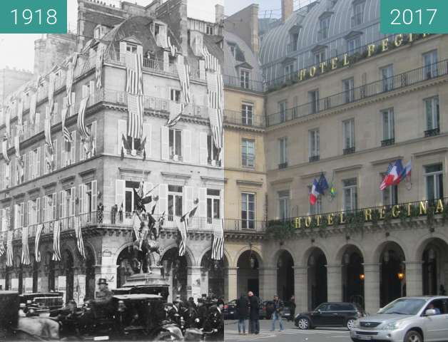 Before-and-after picture of Place des Pyramides between 1918-Nov-11 and 2017-May-01