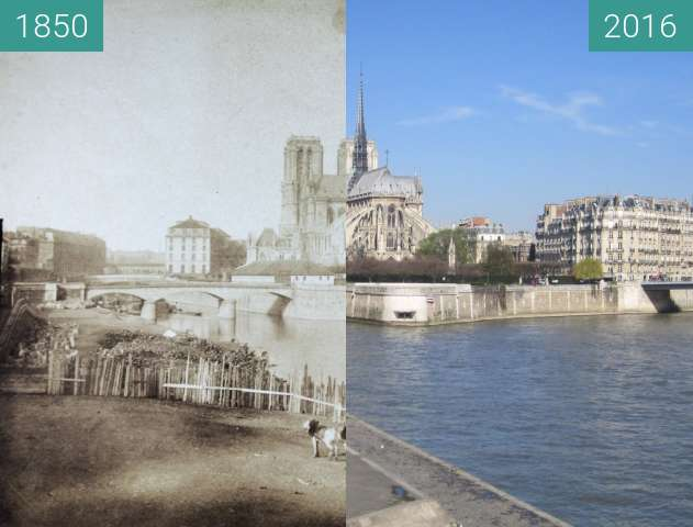 Before-and-after picture of Île de la Cité between 1850 and 2016-Apr-03