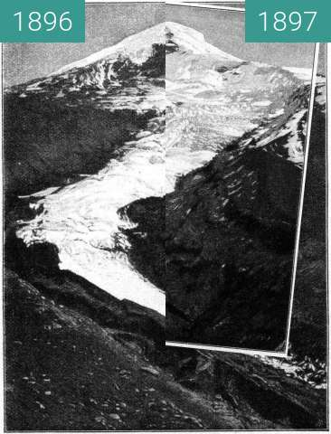 Before-and-after picture of Nordgletscher am Lanín between 1896-May-24 and 1897-May-24