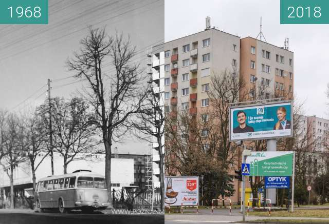 Before-and-after picture of Ulica Wojska Polskiego between 1968 and 2018
