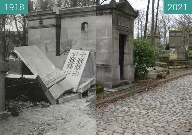 Before-and-after picture of Destructions on Père Lachaise between 03/1918 and 02/2021