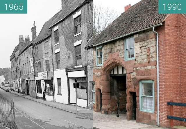 Before-and-after picture of Much Park Street, Coventry between 1965 and 1990
