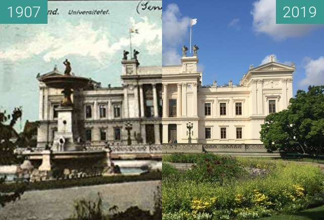 Before-and-after picture of Lund University between 1907 and 2019-Aug-16