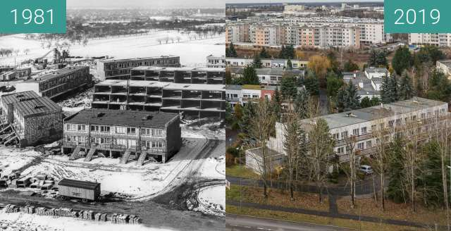 Before-and-after picture of Osiedle Marysieńki between 1981 and 2019