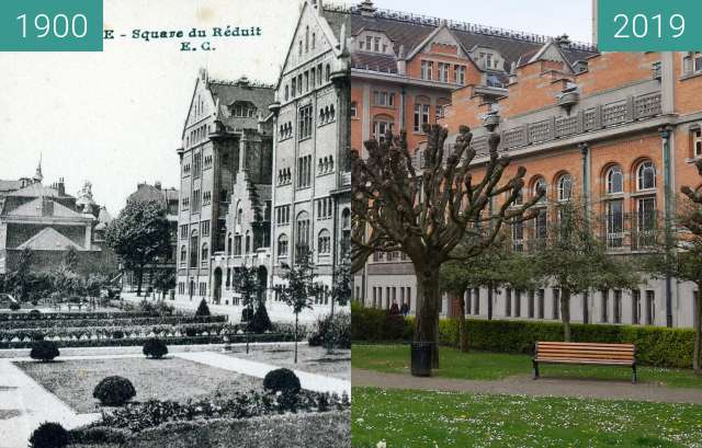 Before-and-after picture of Square du Réduit / Hôtel de Ville between 1900 and 2019-Apr-06