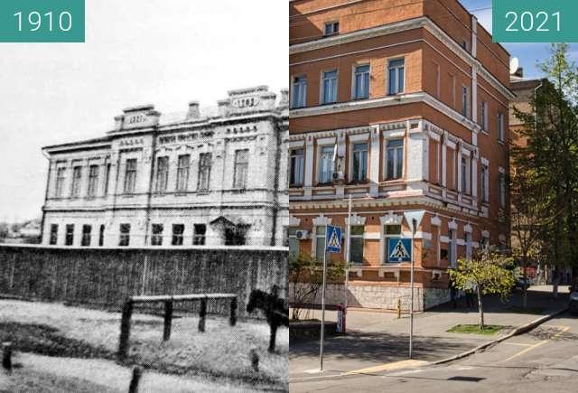 Before-and-after picture of Здание санитарной станции по Некрасовскому переулк between 1910 and 2021