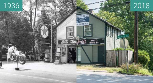 Before-and-after picture of Bonfield's Garage between 1936 and 2018-Jul-29