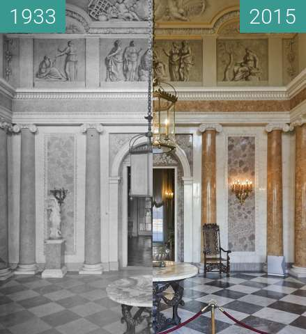 Before-and-after picture of Wielka Sień, Wilanow between 1933 and 2015