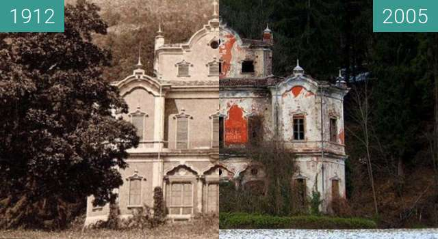 Before-and-after picture of De Vecchi's Villa between 1912 and 2005