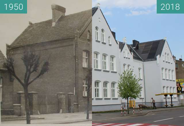Before-and-after picture of Szkoła Podstawowa im.Marii Konopnickiej w Wągrowcu between 1950 and 2018