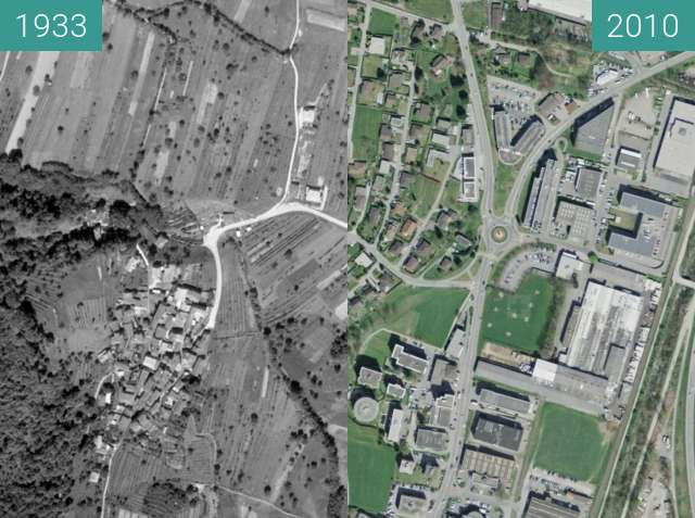Before-and-after picture of Manno 1933-2010 between 1933 and 2010