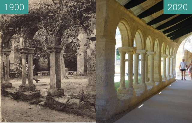 Before-and-after picture of Cordeliers Cloister between 1900 and 07/2020