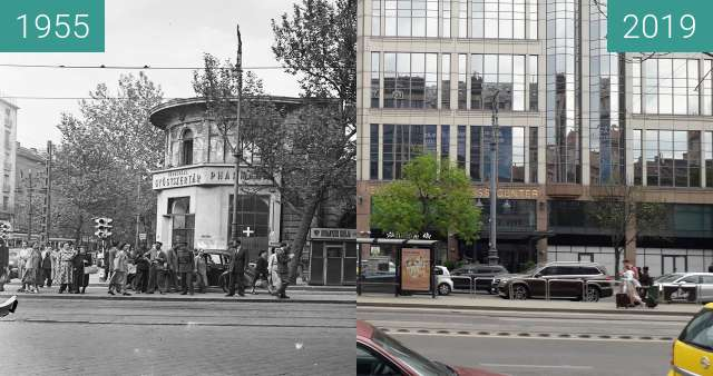Before-and-after picture of Budapest. Astoria, 1 Múzeum Boulevard between 1955 and 2019