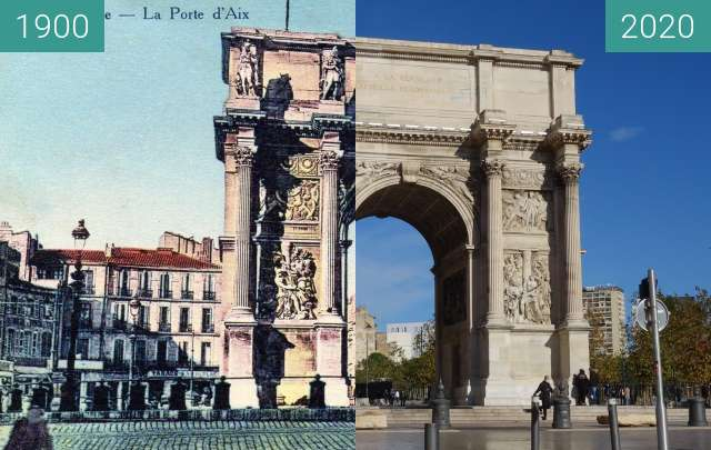 Before-and-after picture of Porte d'Aix between 1900 and 10/2020
