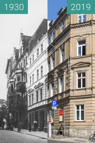 Before-and-after picture of Ulica św. Wojciech between 1930 and 2019