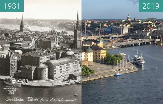 Before-and-after picture of Gamla Stan between 1931 and 2019-Aug-24