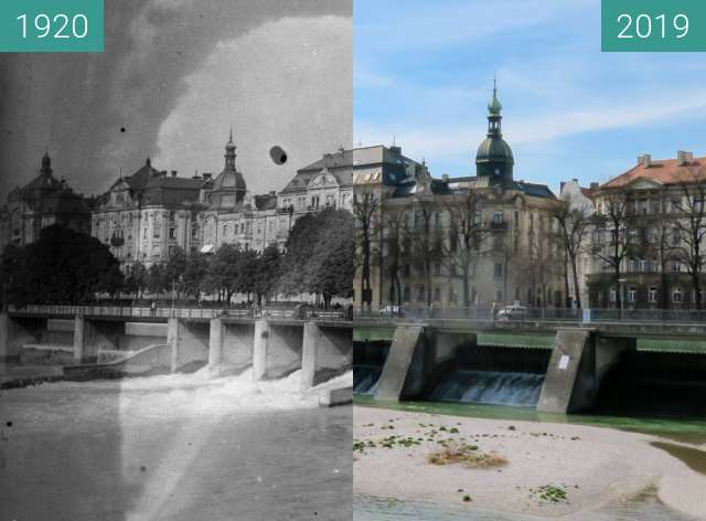 Before-and-after picture of Der Wehrsteg über die Isar in München between 1920 and 2019-Mar-22