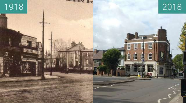 Before-and-after picture of Stamford brook corner between 1918 and 2018