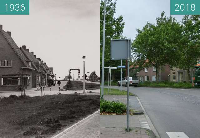 Before-and-after picture of Brugstraat in the village of Middenmeer between 1936-May-23 and 2018-Jun-19