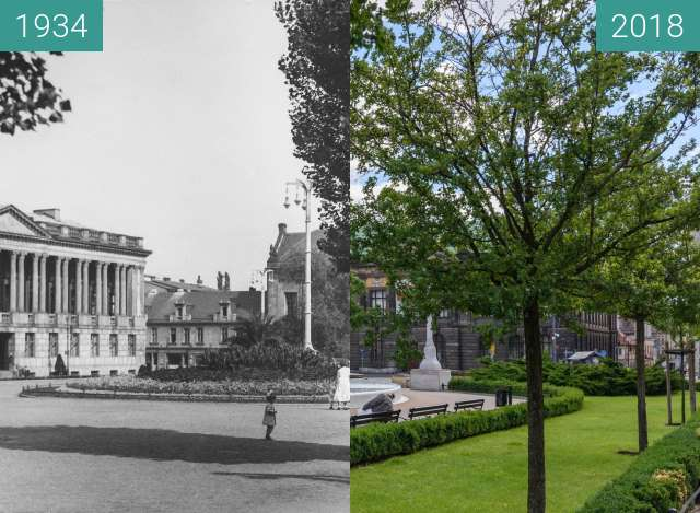 Before-and-after picture of Plac Wolności between 1934 and 2018