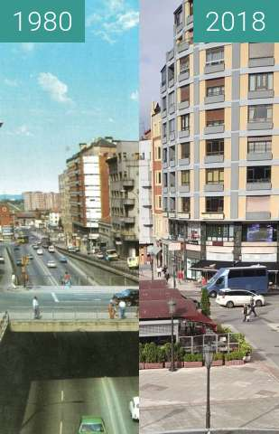 Before-and-after picture of Calle Uría vista desde la pasarela between 1980 and 06/2018