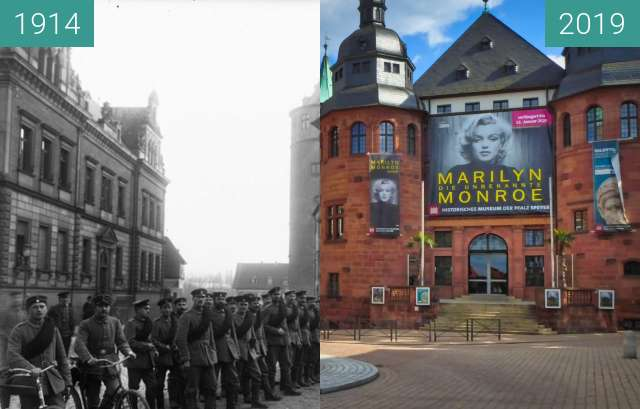 Before-and-after picture of Historisches Museum der Pfalz in Speyer between 07/1914 and 2019-May-14