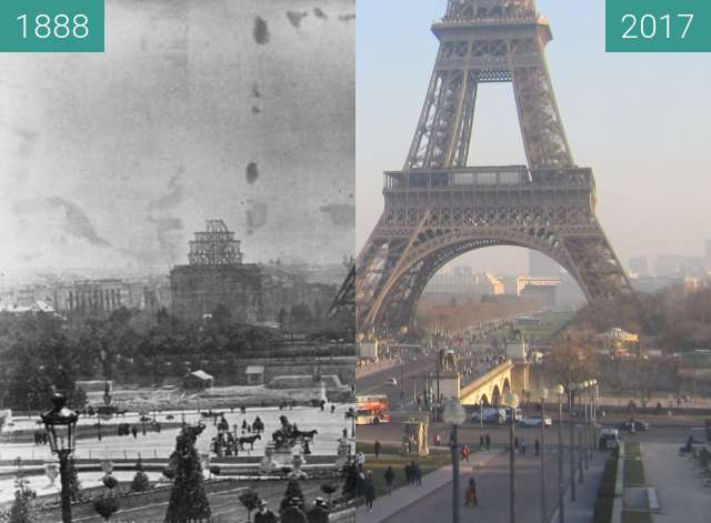 Before-and-after picture of Tour Eiffel between 07/1888 and 2017-Jan-26
