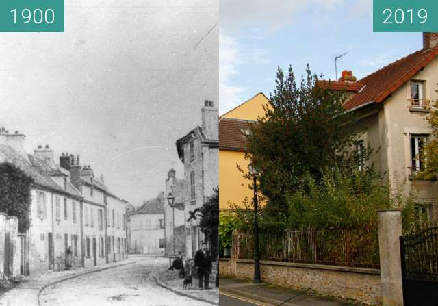 Before-and-after picture of Rue Baillet-En-France between 1900 and 2019-Oct-19