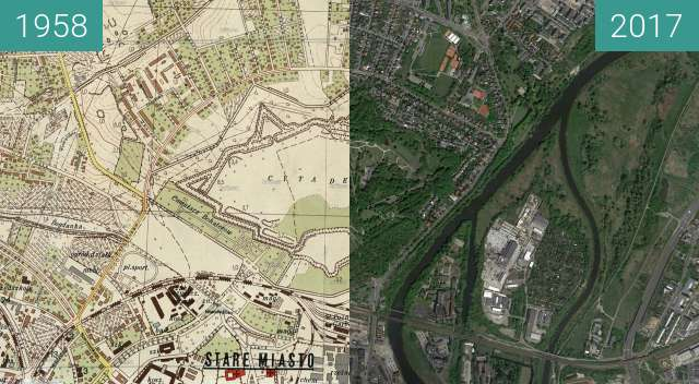 Before-and-after picture of Poznań 1958 - Cytadela between 1958 and 2017-May-12