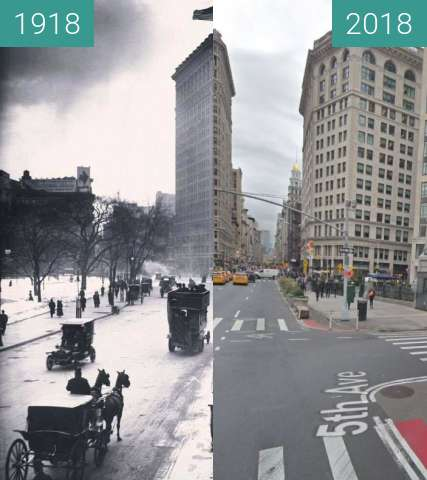 Before-and-after picture of Flatiron Building, New York City between 1918 and 2018-Jul-25