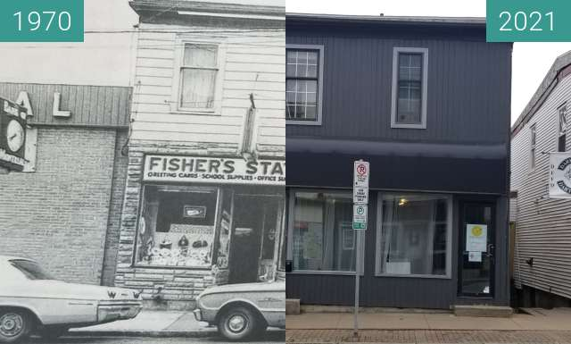 Before-and-after picture of Fishers Stationary Dartmouth between 1970 and 2021-Apr-07