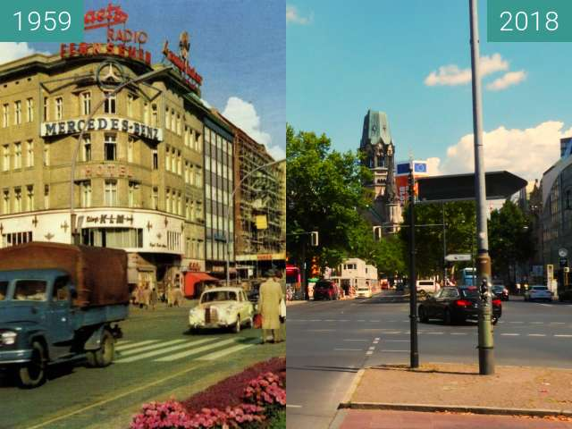 Before-and-after picture of Kaiser Wilhelm Memorial Church between 1959 and 2018
