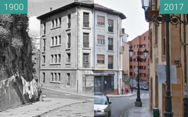 Before-and-after picture of Calle Postigo Alto en Oviedo between 1900 and 2017