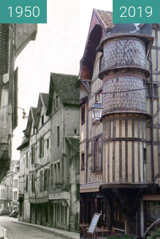 Before-and-after picture of Rue Champeaux between 1950 and 2019-Mar-23
