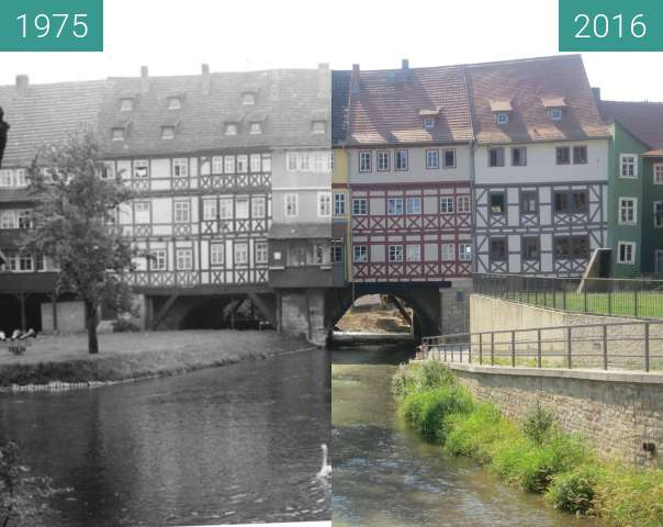 Before-and-after picture of Krämerbrücke (orthogonal) between 1975-Aug-06 and 2016-Aug-19
