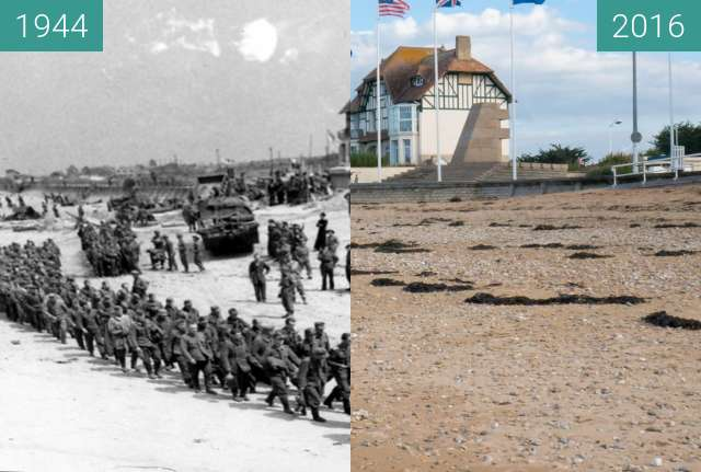 Before-and-after picture of Captured German Soldiers at Juno Beach between 1944-Jun-06 and 2016-Oct-22