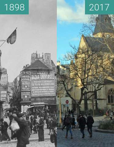 Before-and-after picture of La place Saint-Médard à Paris between 1898 and 2017-Feb-04