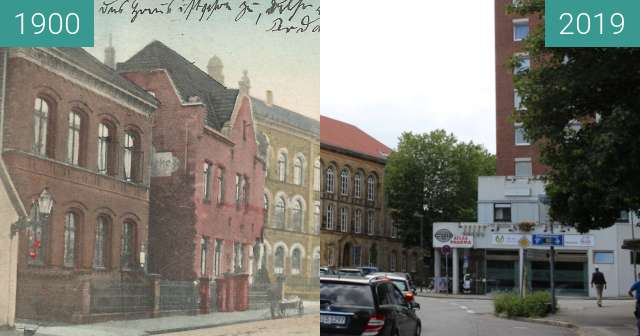 Before-and-after picture of Lotter Straße. between 1900 and 2019-Jul-03