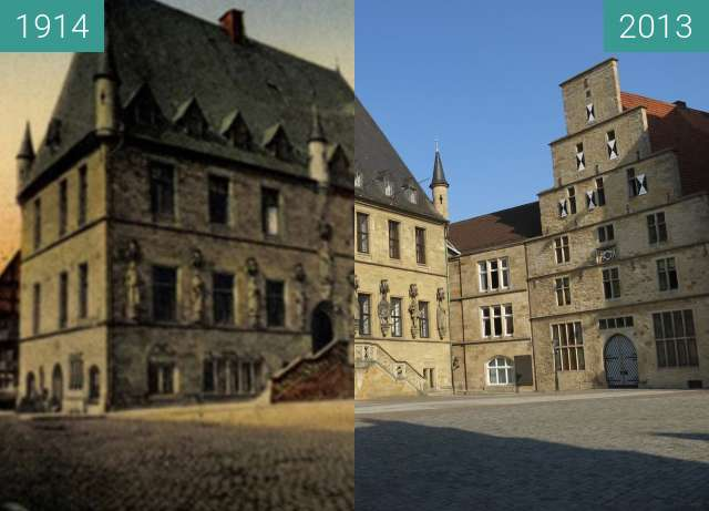 Before-and-after picture of Das Osnabrücker Rathaus between 1914 and 2013-Jul-23