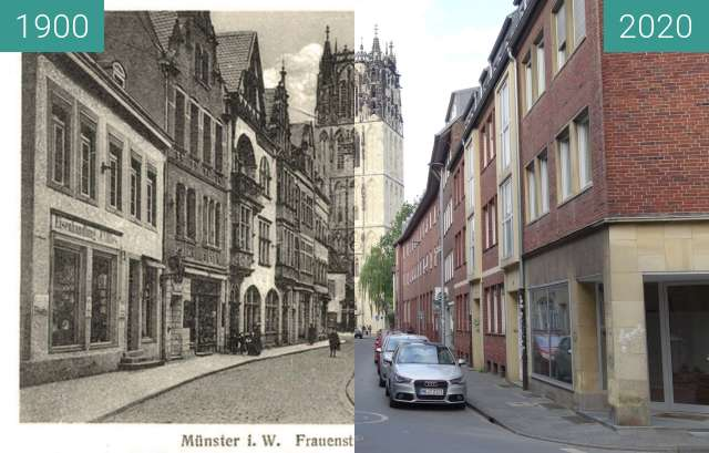 Before-and-after picture of Frauenstraße between 1900 and 05/2020