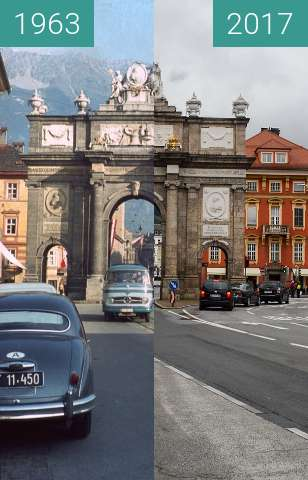 Before-and-after picture of Triumphpforte Innsbruck between 09/1963 and 2017-Sep-01