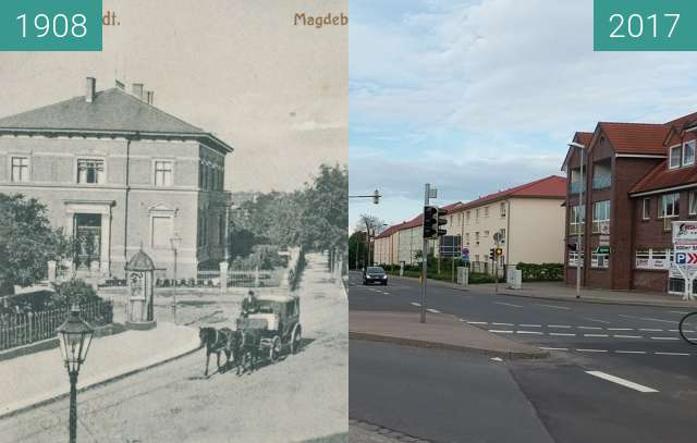 Before-and-after picture of Magdeburger Straße in Halberstadt between 1908 and 2017-May-20