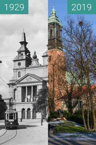 Before-and-after picture of Ostrów Tumski, Bazylika Archikatedralna św. Piotra between 1929 and 2019-Jan-31