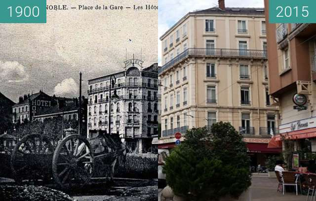 Before-and-after picture of Grenoble | Place de la Gare  between 1900 and 2015
