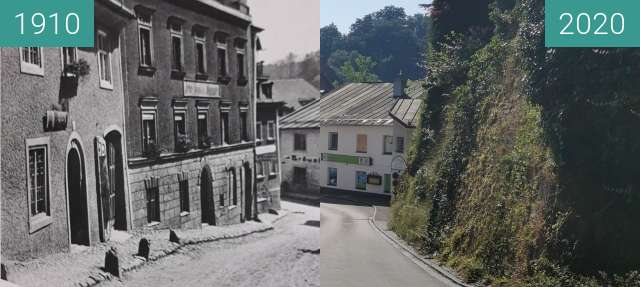 Before-and-after picture of Kniebos Traunstein between 1910-May-12 and 2020-Aug-09