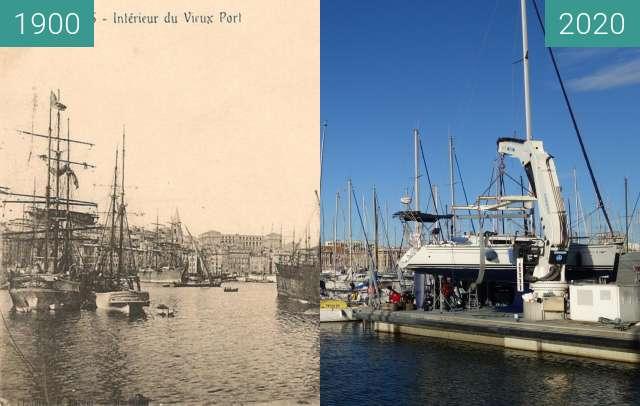 Vorher-Nachher-Bild von Vieux Port zwischen 1920 und 10.2020