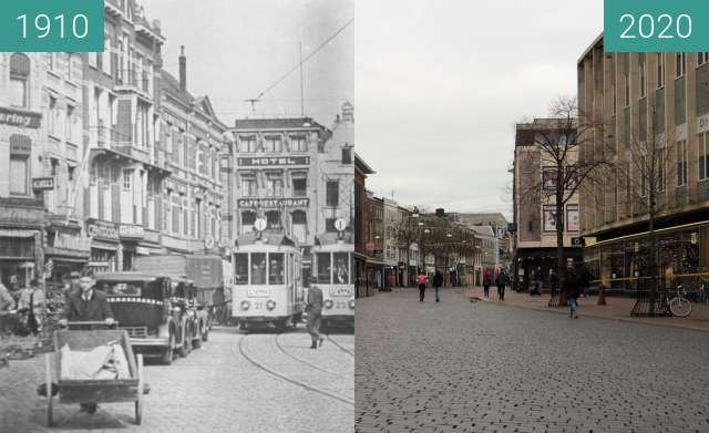 Before-and-after picture of Grote markt Nijmegen 1935 between 1935 and 2020-Dec-29