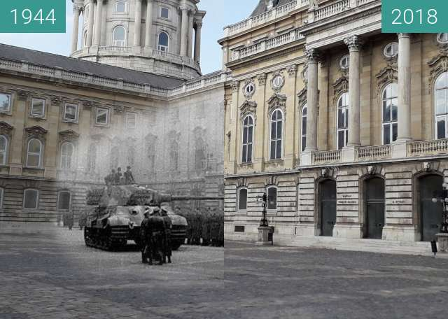 Before-and-after picture of Tiger Tank in Buda Palace, Budapest 1944 between 1944 and 2018-Aug-29